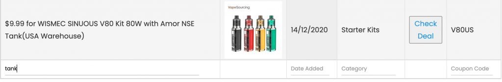 vaposearch coupons section column search